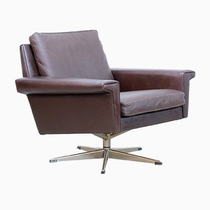 Danish Brown Leather Easy Chair from Vejen Polstermøbelfabrik, 1960s