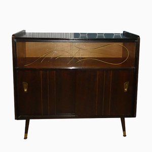 Mueble bar de vidrio con patas, años 50