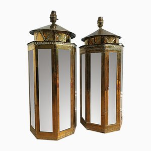 Brass Overlaid Lamp Bases by Rodolfo Dubarry for Roche Bobois, 1970s, Set of 2