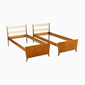 Vintage Italian Teak Veneer Single Beds, 1960s, Set of 2