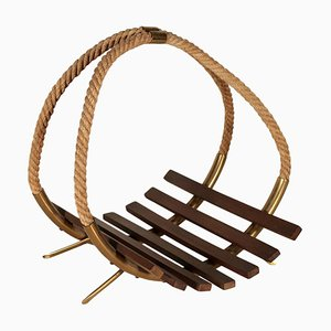 Italian Teak, Brass, & Hemp Rope Magazine Rack, 1960s