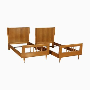 Italian Ash Veneer Single Beds, 1950s, Set of 2