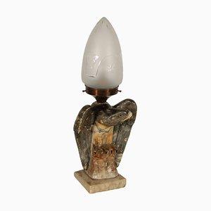 Lámpara de mesa italiana antigua de alabastro y vidrio