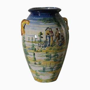 Jarrón italiano antiguo grande de cerámica con adornos