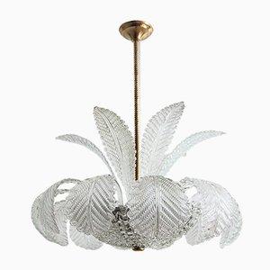 Lámpara de araña italiana vintage de cristal de Murano, años 50