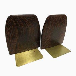 Sujetalibros escandinavos de palisandro y latón, años 60. Juego de 2