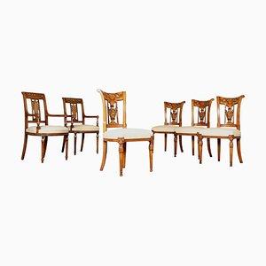 Antike italienische Armlehnstühle, 6er Set