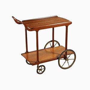 Vintage Italian Oak & Brass Serving Bar Cart, 1960s