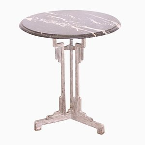 Art Deco Bistro Table Metal & Marble from Charlionais & Panassier, 1930s