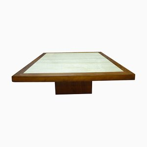 Mid-Century Travertine and Wood Coffee Table, 1970s