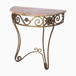 Art Deco French Wrought Iron & Marble Console Table, 1930s
