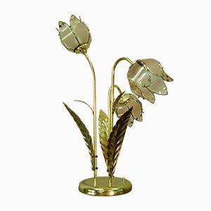 Große florale Tischlampe aus Glas & Stahl, 1970er