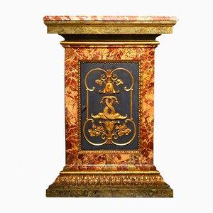 Mueble esquinero antiguo de madera pintada y dorada, siglo XVIII