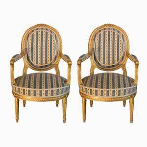 Antique 19th Century Louis XVI Style French Armchairs, Set of 2
