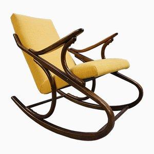 Sedia a dondolo in legno curvo giallo di Thonet, anni '60
