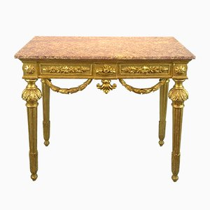 Table Console Antique Louis XVI en Bois Sculpté, 1785