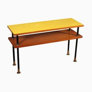 Mesa de centro italiana vintage de teca, formica, metal y latón, años 60