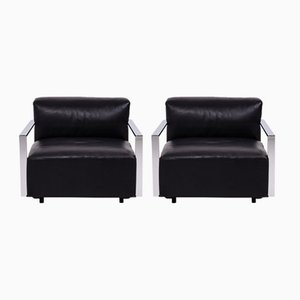 Black Leather St Martin Armchairs by Arik Levy for Baleri, 2008, Set of 2