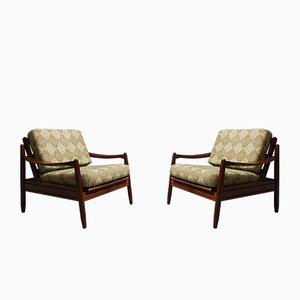 Dänische Vintage Liegestühle mit grünem Wollbezug, 1960er, 2er Set