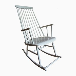 Vintage Mademoiselle High-Back Rocking Chair by Ilmar Tapiovaara, 1950s