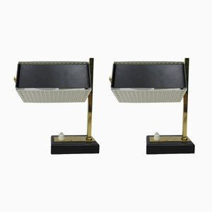 Small Mid-Century Brass, Black & White Bedside Table Lamps, 1950s, Set of 2