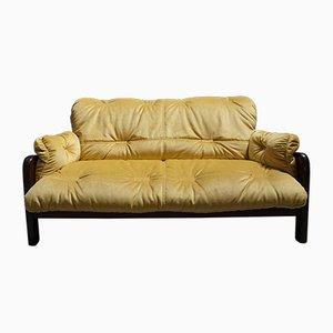 Love-seat danés Mid-Century de terciopelo dorado, años 60