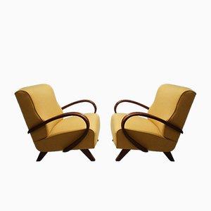 Gelbe Art Déco Ruhesessel, 1930er, 2er Set