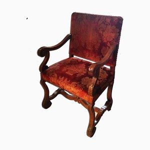 Antiker Ludwig XIII Sessel aus Seidensamt