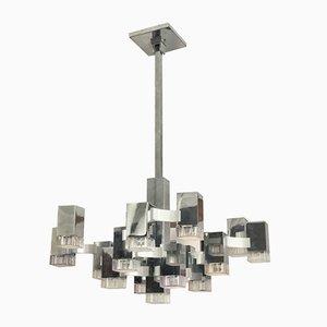 Lámpara de araña cúbica grande de Gaetano Sciolari para Sciolari, años 70