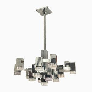 Large Cubic Chandelier by Gaetano Sciolari for Sciolari, 1970s