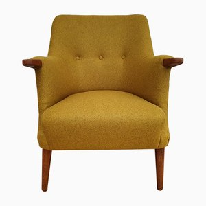 Dänischer Vintage Armlehnstuhl aus Wolle & Teak