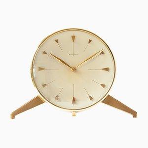 Reloj de escritorio de latón con trípode de Junghans, años 50