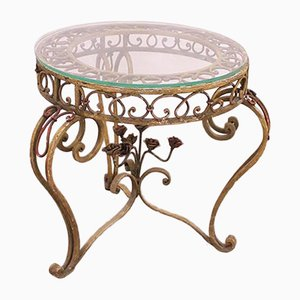 Glass & Wrought Iron Round Coffee Table, 1920s