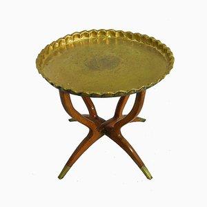 Mid-Century Moroccan Brass & Mahogany Tray Table, 1950s