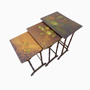19th Century French Painted Floral Nesting Tables