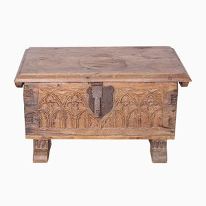 Small Antique Gothic French Carved Oak Chest