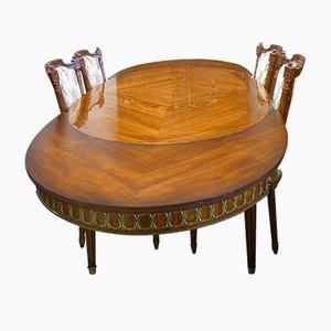Ausziehbarer Esstisch im Louis XVI-Stil aus Palisander & Intarsien von JP Ehalt, 1940er