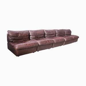 Vintage Modular Leather Sofa, 1970s