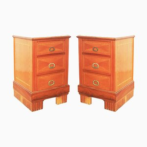 Vintage Art Deco Nightstands, 1930s, Set of 2