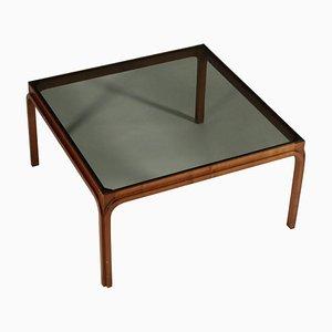 Mesa de centro italiana vintage de haya y vidrio ahumado, años 60