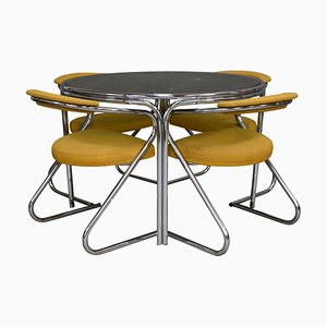 Italian Chrome and Smoked Glass Dining Set, 1970s