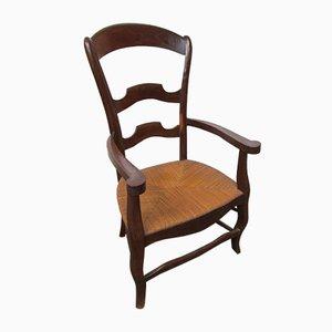 Antiker Sessel aus Ulmenholz & Stroh, 1900er