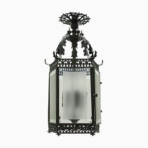 Antique English Bronze Hanging Lantern, 1850s