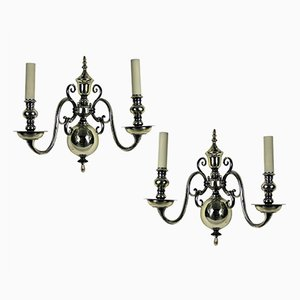 Antique English Silver-Plated Wall Sconces, 1800s, Set of 2