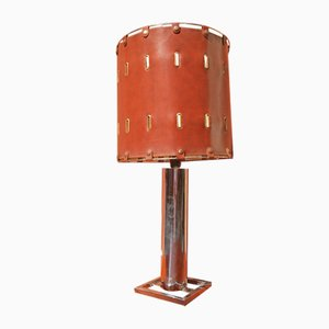 Italian Chromed Steel & Brown Leather Table Lamp from La Perla Brescia, 1970s