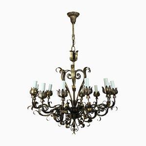 Lámpara de araña italiana Mid-Century de metal dorado, años 50