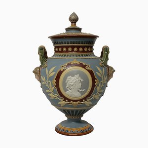 Coupe Tazza Majolica Antique Néoclassique de Hein, Allemagne, 1890s