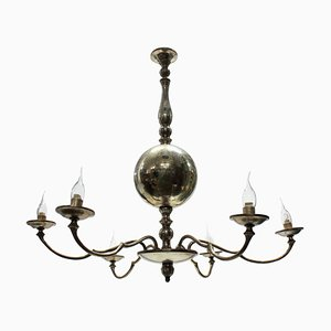 Mid-Century French Silver Plated Chandelier, 1950s