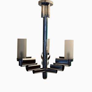 Lámpara de araña moderna de metal cromado, años 30