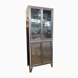 Mueble de almacenamiento o vitrina médica industrial vintage de metal, años 30